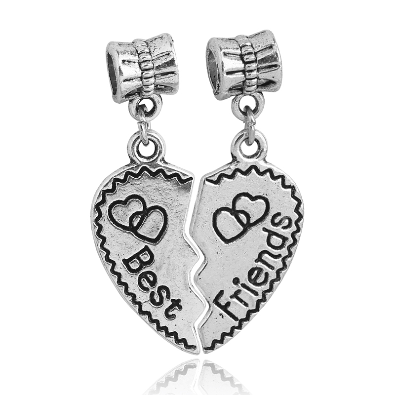 Free Shipping 1PAIR DIY Jewelry Accessories Silver Best Friend Heart Dangle Charms Bead for Pandora Charm Bracelets