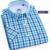 100%Cotton 2019 Black Plaid Shirt Men Shirts New Summer Fashion Chemise Homme Mans Checkered Shirt Fit Short Sleeve Tops YN10305 2