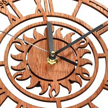 Round Wooden Wall Clock Sun Shaped with Roman Numeral