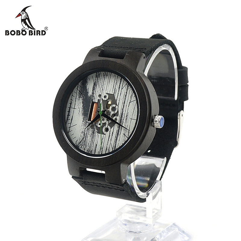 ФОТО BOBO BIRD H14 Mens Wooden Watch Japanese Quartz Movement Visible Ebony Wood Watches Real Leather Band as Best Gift for Men