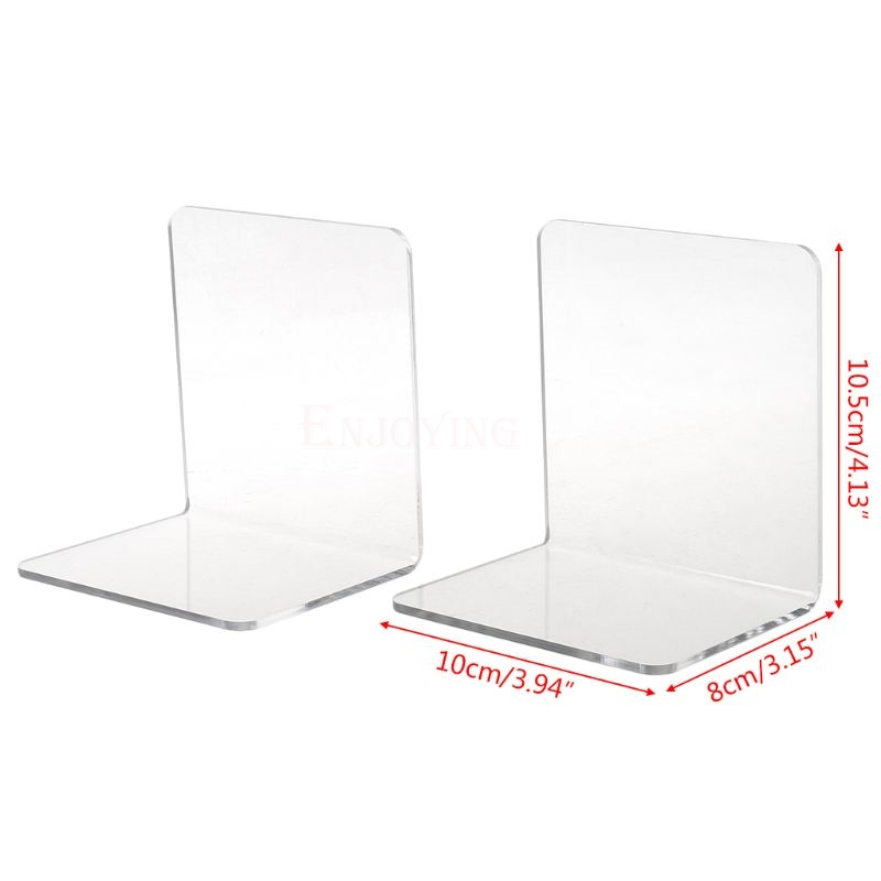 2Pcs Clear Acrylic Bookends L-shaped Desk Organizer Desktop Book Holder School Stationery Office Accessories 6