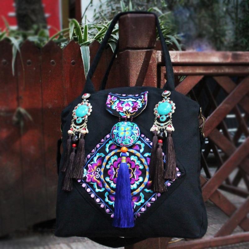 Grand Brodé Boho Ethniques Broderie Paillettes Dos Embroidered À Main Sac Marque Sacs Dames Hmong Bandoulière Femme Fleur Chinois UEPwA