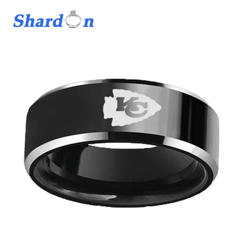 SHARDON Wedding & Engagement jewelry 8mm Black Beveled Two-Toned Tungsten Ring laser Kansas City Chiefs Outdoor Ring for Men