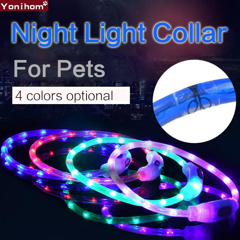 Dog Collar USB LED Rechargeable Pet Dog Collar Luminous Collar Perro LED Dog Collar Light USB Rechargeable Light Night Safety in Collars from Home Garden