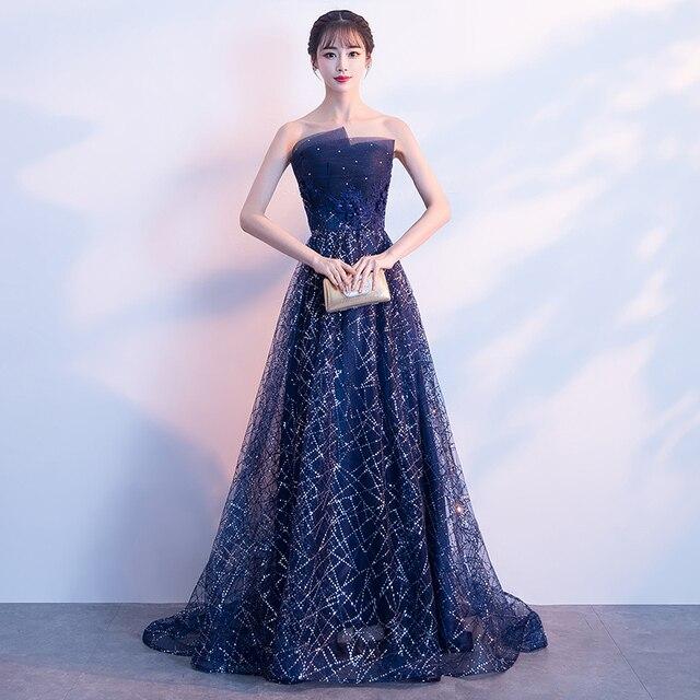 4537460a4474 € 44.89 28% de DESCUENTO|2019 nuevo elegante vestido de noche Mujer el  hombro alfombra roja vestido de fiesta de lentejuelas vestidos de baile de  ...