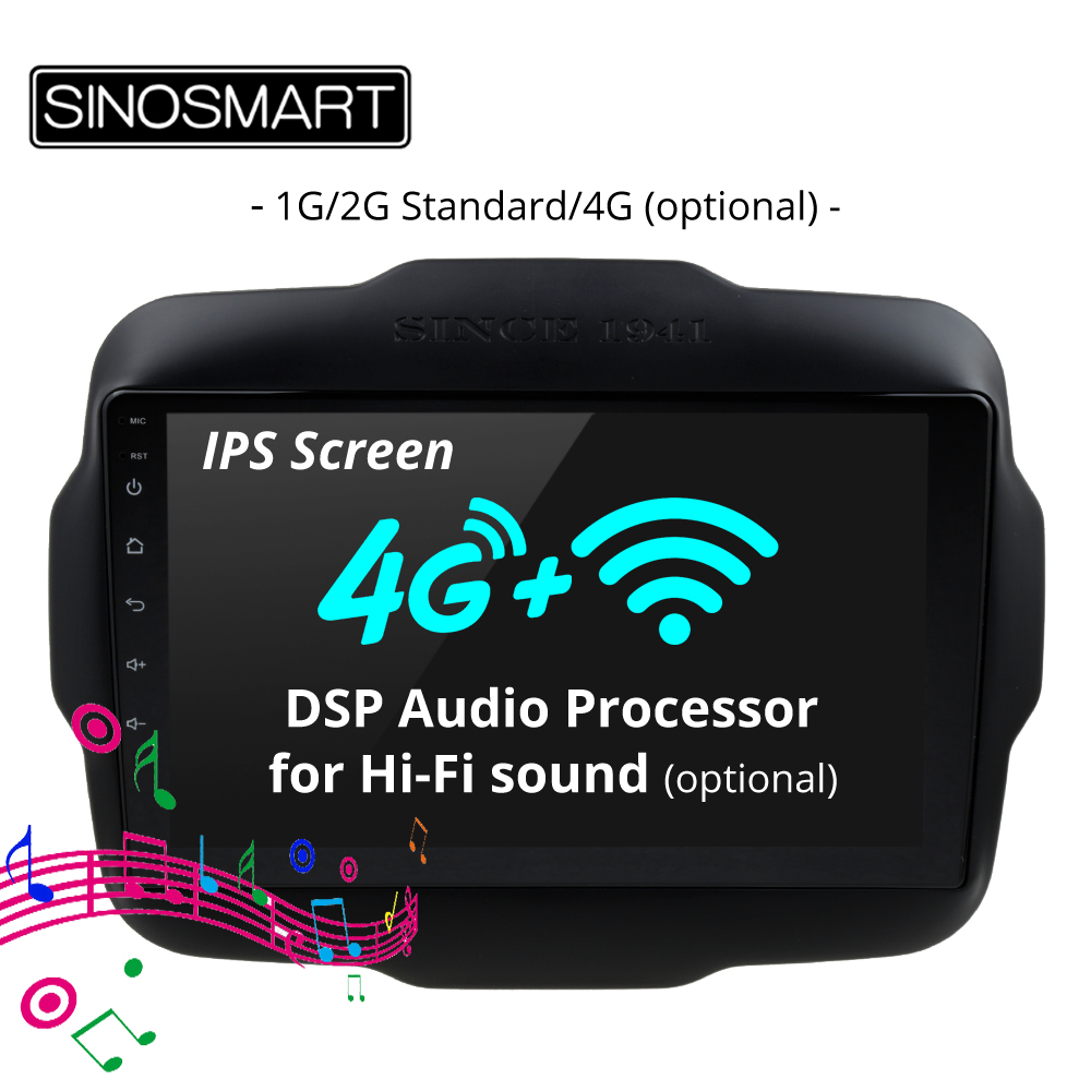 SINOSMART IPS Screen 1G/2G Car Radio GPS Navigation Player for Jeep Renegade 2016 2018 32EQ DSP, 4G SIM Card Slot Optional-in Car Multimedia Player from Automobiles & Motorcycles