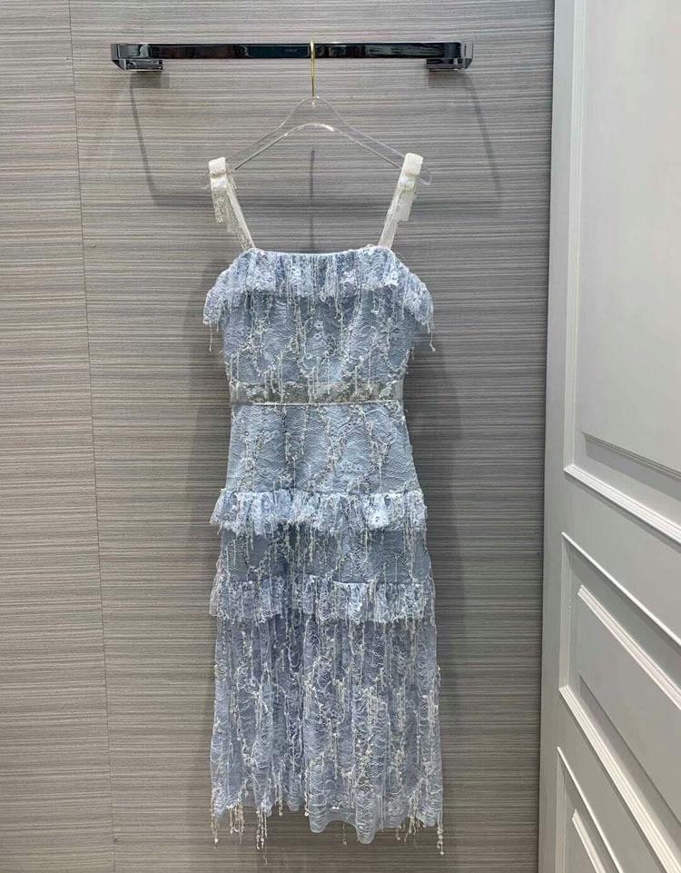 women fashion 2019spaghetti strap beading sleeveless dresses 2colors at190145