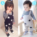 2015 Fashion baby clothing Boys&Girls LongSleeve T Shirt +Long suspenders Pants 2pcs newborn baby boy clothes bebe clothing set