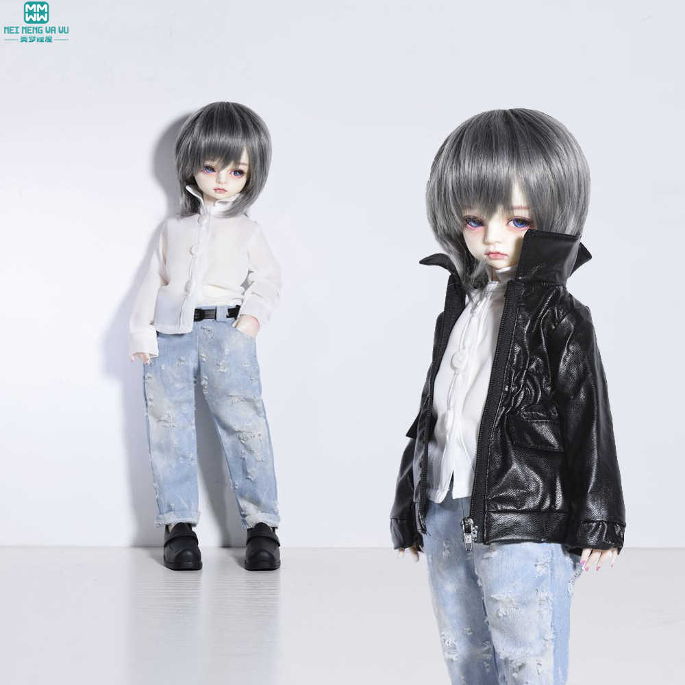 bjd dolls Accessories clothes for dolls fits 38cm-45cm 1/4 bjd dolls Black leather + white shirt + jeans