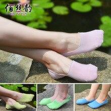 Новые шелковые стелс лодка носки, 80% шелк лето, тонкие женские носки, силиконовые скольжения шелк, мелкие носки