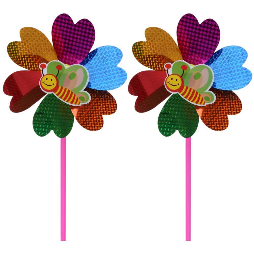 2Pcs Wind Spinner Sequin Windmill Pinwheel Colorful Toys Kids Children Glitter Glow Funny Ornament Classic Toys Gifts