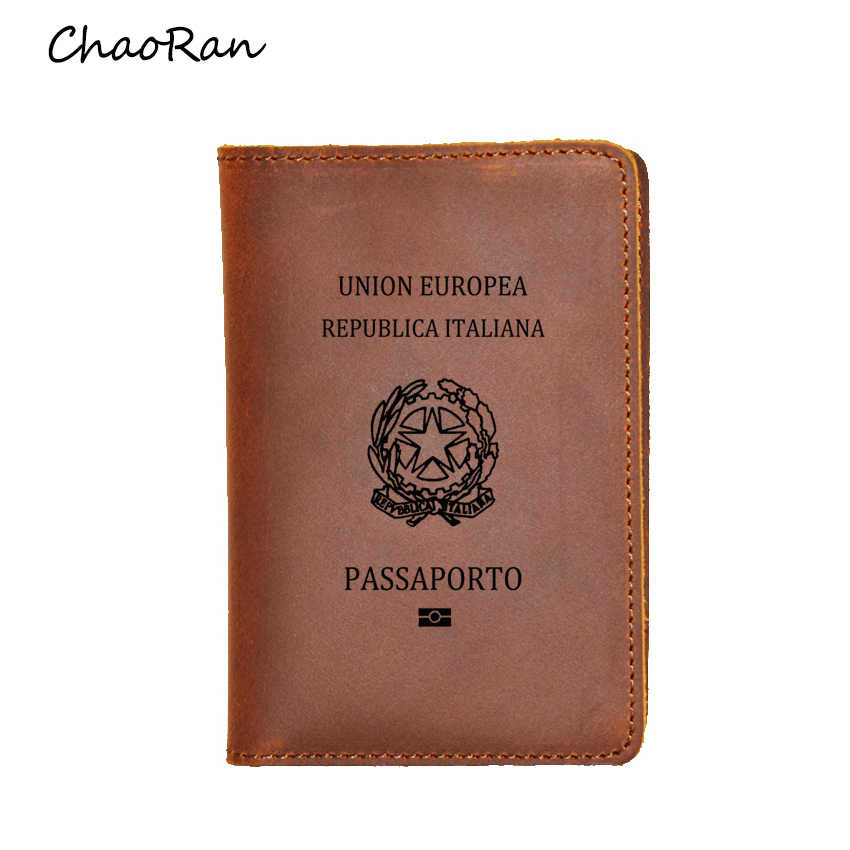 Italy Passport Cover Travel Wallet Card Holders Purse Men Engraved Name Leather Italian Genuine Leather Passport Holder