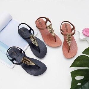 Image 3 - Женские пляжные сандалии Ipomoea, вьетнамки на плоской подошве в богемном стиле, модель SH041401 на лето, 2020