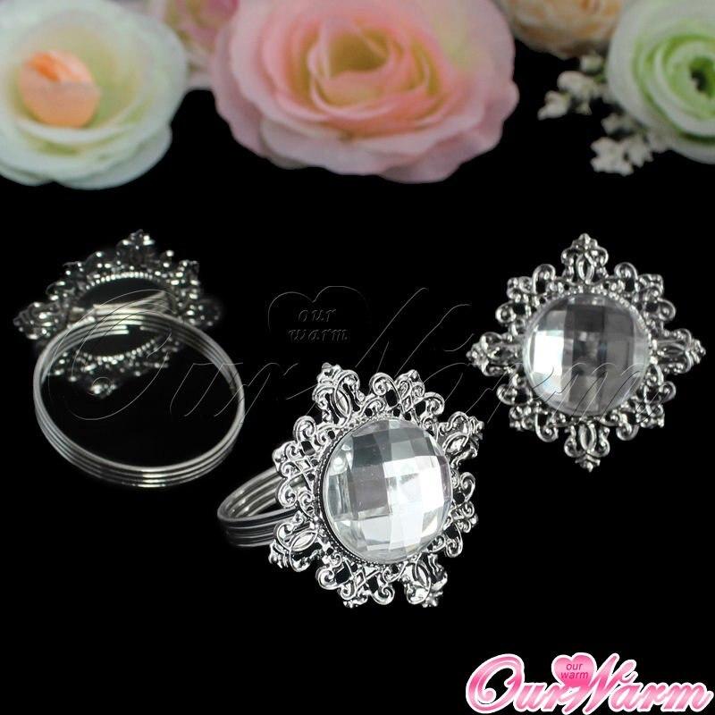 12 Pcs Mewah Berlian Imitasi Cincin Serbet Putih Napkin Ring Serviette Holder Wedding Party Dinner Crop Quality Tabel Dekorasi Aksesoris