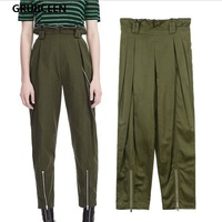 GRUIICEEN embroidered flares High Waist Harem Pants Luxury brand zipper chain streetwear pants women fashion autumn