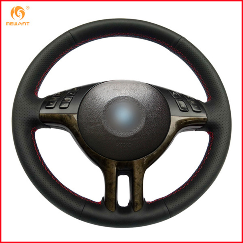 TAN//BLACK LEATHER Steering Wheel Cover 100/% Leather fits BMW