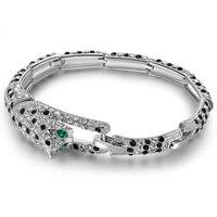 Leopard Bracelet Bangle Women Rock Jewelry Austrian Crystal Vintage Bracelets Girlfriend Gifts Luxury Brand Jewellery 2 Colors