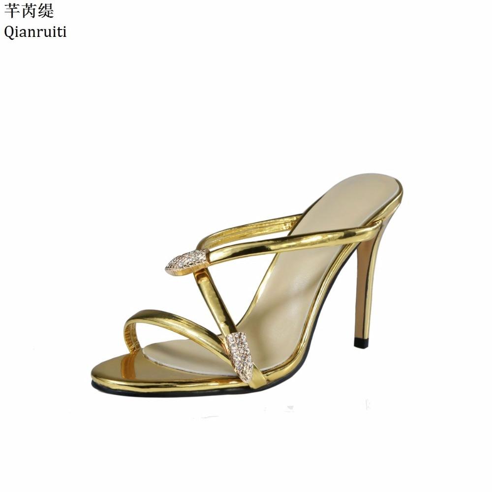 Qianruiti Gold Patent Leather Slingback Women Pumps Cut-Outs Women High Heels Shoes Studded Crystal Stiletto Heels Women Sandals цена 2017