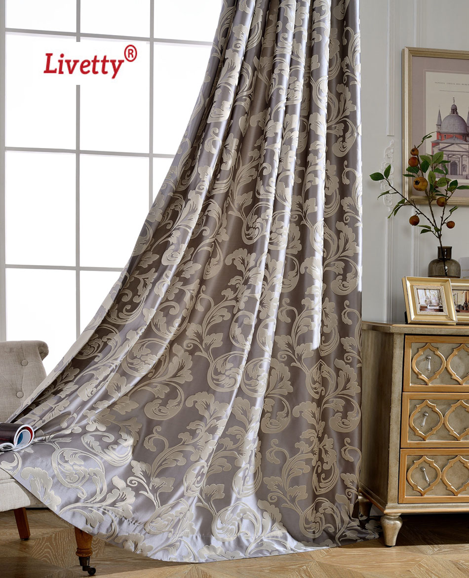 Curtains for bedroom 2016 - 2016 New Luxury Blackout Curtains For Living Room Drapes Bedroom Grey Jacquard Blinds Fabric European Window