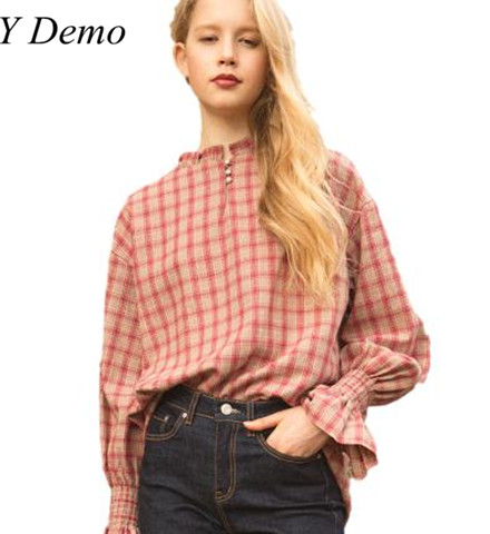 Sweet Cotton Pink Plaid Flare Sleeve Shirt Ladies Casual Round Neck Cute Blouses