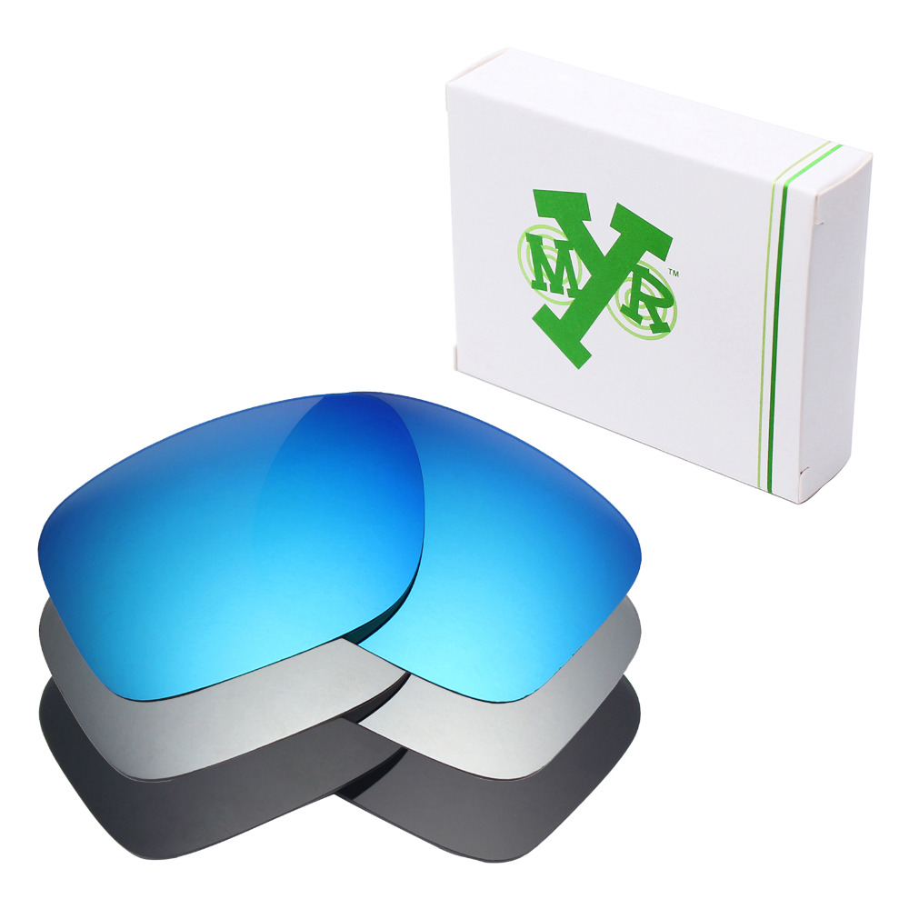 3 Pairs Mryok Anti-Scratch POLARIZED Replacement Lenses For-Oakley Holbrook Sunglasses Stealth Black & Ice Blue & Silver