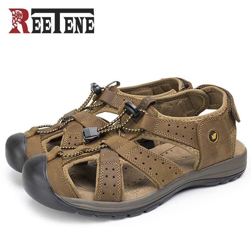 REETENE 2017 New Beach Sandals Men High Quality Leather Summer Shoes Men Sandalias Para Hombres Casual Zapatos Hombre