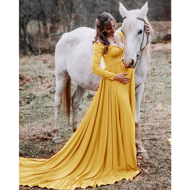 Maternity Dresses For Photo Shoot Maternity Photography Props Long Sleeve Maxi Dresses For Pregnant Women Pregnancy Clothes