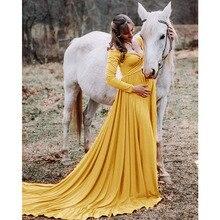 Robe de maternité Maxi à manches longues, pour femmes enceintes, robes de grossesse, accessoires de photographie