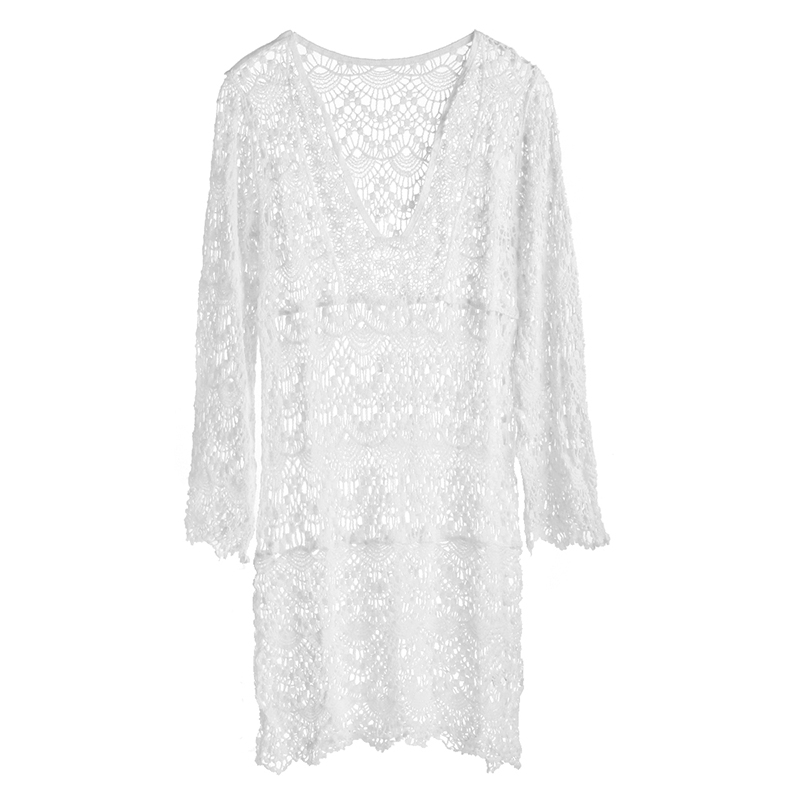 2018 Sexy Beach Cover up Crochet White Swimwear Dress Ladies Bathing Suit Cover ups Beach Tunic Saida de Praia  4
