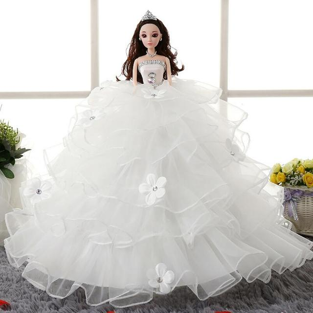 Princess Doll White Wedding Dress Colthes 3D Simulation Eyes Barbie Best Gift For Girl Children