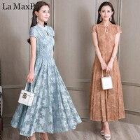 Plus Size 2018 New Women Summer Dress High end Custom Chinese Style Lace Cheongsam Dress Vintage Slim Long Dress Vestidos