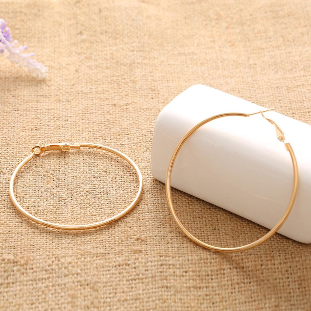 Personality Super Big Circles Hoop Earrings For Women Fashion Gold-color Jewelry Bijoux Trendy Statement Earrings 60 70 80mm