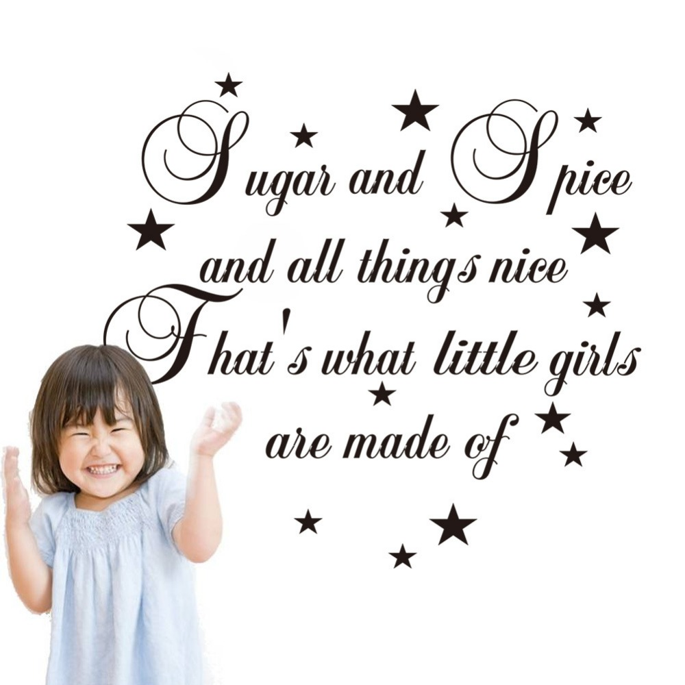 online get cheap girls quotes aliexpress com alibaba group stars sugar spice is little girls made of quotes pvc wall stickers bedroom home decor