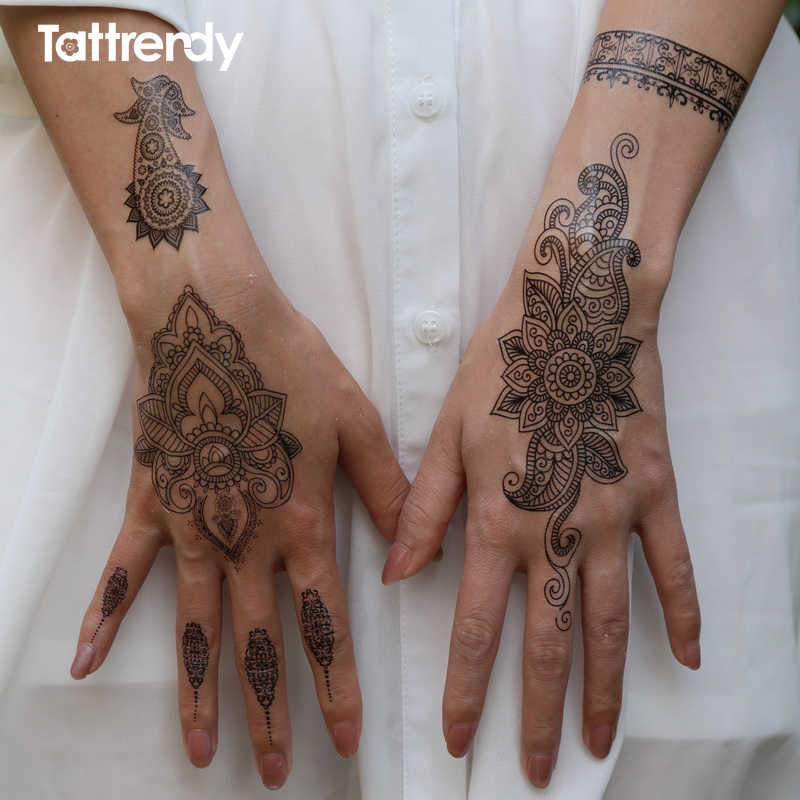 483b85b65f794 1piece body painting white black henna tattoo fake new lace flash Arabic  Indian rose butterfly wedding