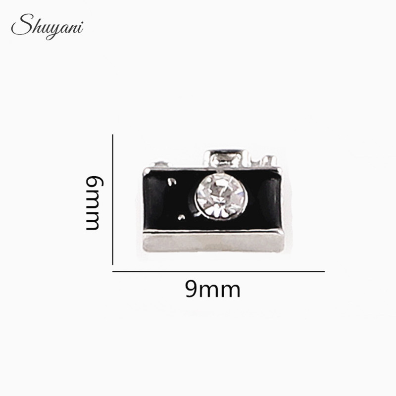 6*9mm Fashion DIY Enamel Crystal Camera Charms Floating Locket Charms for Memory Glass Locket Wholesale (20pcs/lot) image