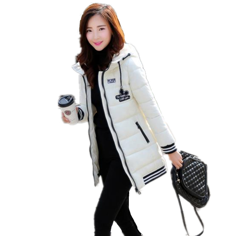 S-3XL Women Winter Female Cotton Coat Striped Cuff And Hem Down Jacket Coat Slim Fashion Long Parka Zipper Hooded Overcoat H52