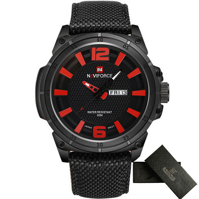 2016 Top NAVIFORCE Casual Watches Men Sports Quartz Watch mens 3D Dial Nylon Strap Military Fashion Wristwatch relogio masculino