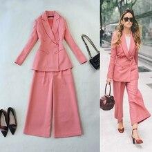 Women 's Spring and Autumn new self – temperament suit suits pink suit + straight leg pants suit suit/two piece set TB535