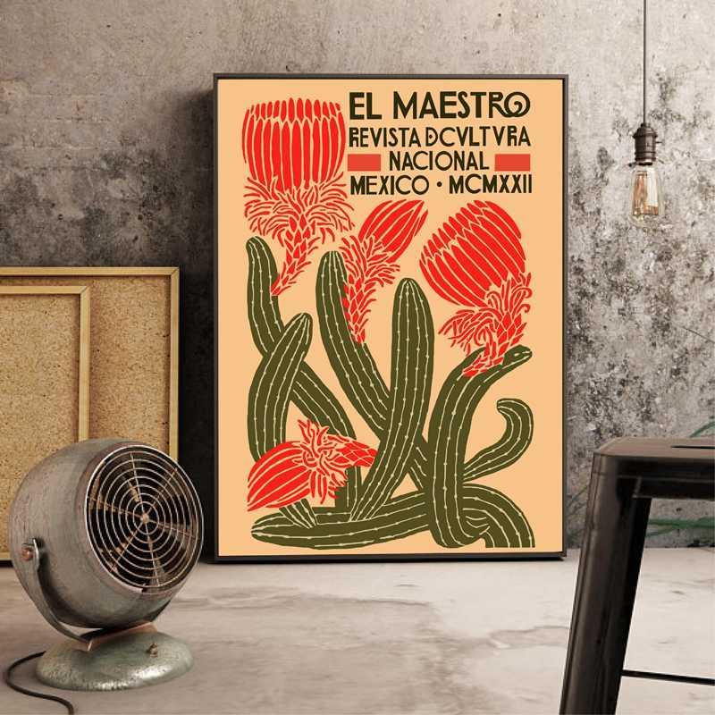 El Maestro Vintage Poster dan Cetakan Kanvas Seni Lukisan Meksiko Dinding Seni Dekoratif Gambar Rumah Dekorasi Ruang Tamu