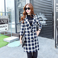 2015 Hot Sale Women Trench Coat Plaid Fashion Style Long Sleeve Trench Outerwear Autumn Winter Casual Female Coat Streetwear