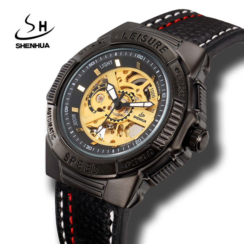 Shenhua Mens Self Winding Black Mechanical Skeleton Wrist Watches Steampunk Power Automatic Self Wind Leather Watch Colck Men shenhua brand black dial skeleton mechanical watch stainless steel strap male fashion clock automatic self wind wrist watches