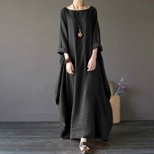 OLOEY 2018 Summer autumn Plus Size Dresses Women 4xl 5xl Loose long vintage Dress Boho Shirt Maxi Robe fashion Female Q293