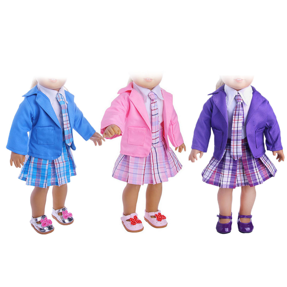 5 PCS Student Clothing School Style Pleated Dress Uniform Shirt Tie Coat Outfit Clothes Shoes Kit For 18 inch American Girl Doll