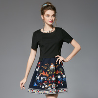 2017 Summer European Style Runway Women 2 Piece Sets Short Sleeve Tops and Flower Embroidery Skirt Suit 5XL Plus Size Brand Sets