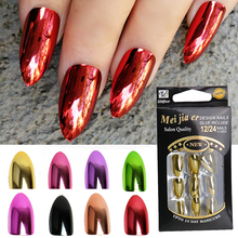 24pc Fake Nails Metallic Mirror Bright Gold Silver Faux Ongles Plating Punk Style Full Cover Nail Tips Press On