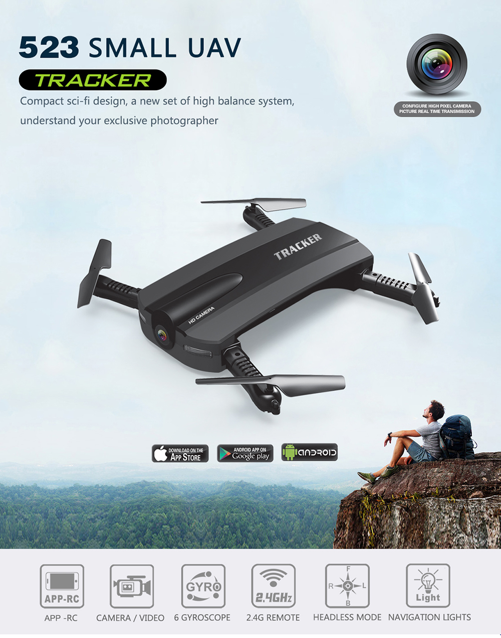 1 JXD 523 JXD523 Mini Foldable drone