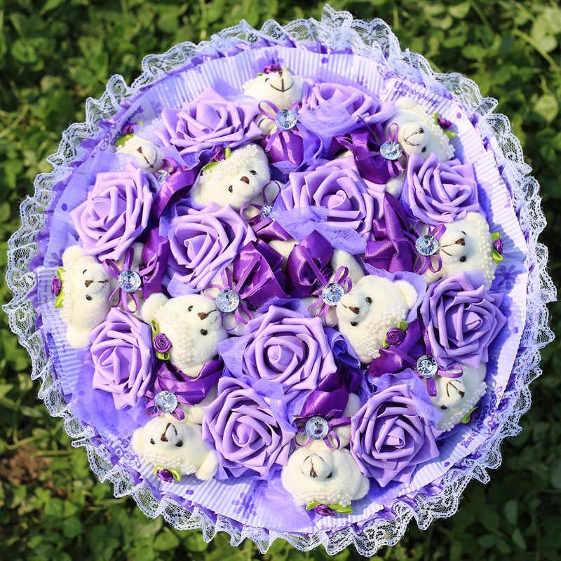 Креативный мультяшный букет, плюшевые игрушки плюшевые мишки + Искусственные розы, Свадебный декор, подарки на день Святого Валентина, держащий цветок