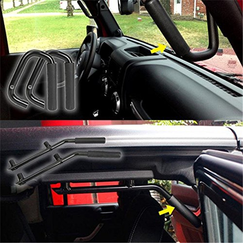 Car Accessories Front Seat Grab Handles Grab Bars 2 & 4 Door Front Grab Handles for Jeep Wrangler JKr  TJ 2007 -2017 2 pcs black car styling parts front rear grab bar handles for jeep wrangler jk 2007 2017 new fashion upgraded