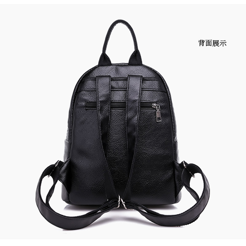 Popular Joker Female Backpack Casual Shopping Women Bag Fashion Soft Pu Leather Student Bagpack Classic Black Design Lithe in Backpacks from Luggage Bags