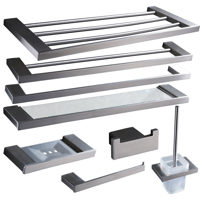 304 Stainless Steel Square Bath Hardware Set Wall Mounted Bathroom